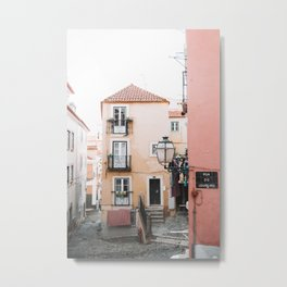 Cute Street with Old, Colorful Houses in Alfama, Lisbon, Portugal | Travel Photography | Metal Print