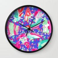 fancy Wall Clocks featuring Fancy by Caroline Sansone