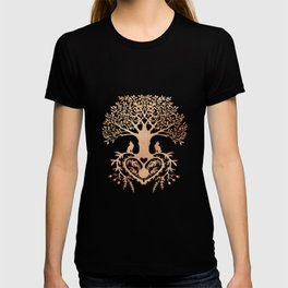 Rose Gold foil Tree of Life with Heart Roots T-shirt