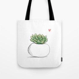 Succulent in Plump White Planter Tote Bag