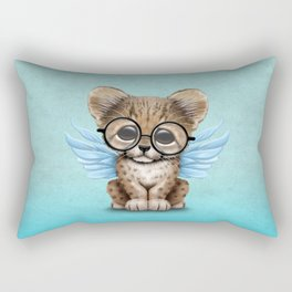 Cheetah Cub with Fairy Wings Wearing Glasses on Blue Rectangular Pillow