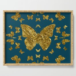 Butterfly kaleidoscope gold Serving Tray
