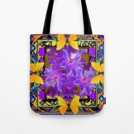 TROPICAL PURPLE FLOWERS & YELLOW BUTTERFLIES FRAMED ART Tote Bag