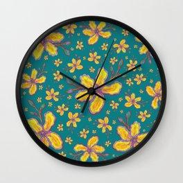 Yellow Flowers on Aqua Wall Clock