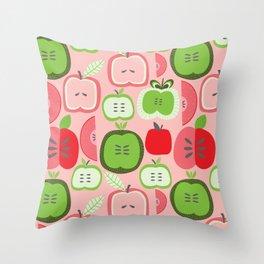 Retro Apples Throw Pillow