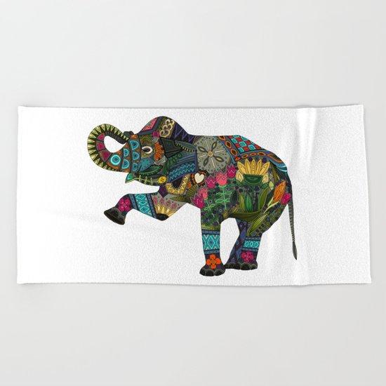 asian elephant white Beach Towel