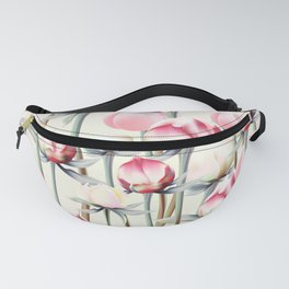 Floral pattern with pink and white peony flowers  in vintage style Fanny Pack