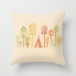 Tepee in the forest Throw Pillow