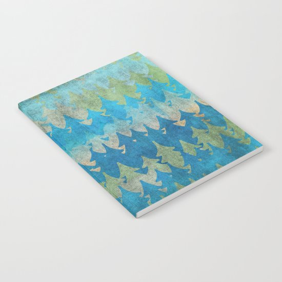The secret forest - Abstract aqua turquoise Forest tree pattern Notebook