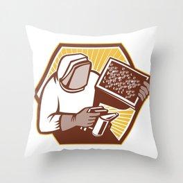 Beekeeper Apiarist Holding Bee Brood Retro Throw Pillow