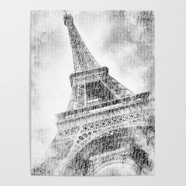 PARIS Watercolor Eiffel Tower | black and white Poster