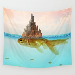 Goldfish Castle Island Wall Tapestry