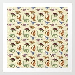 Dino Dinosaur Dinosaurs Primeval Children Pattern Art Print