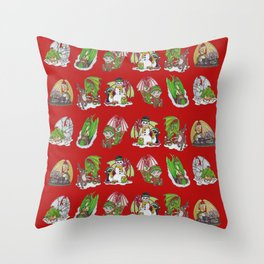 Christmas Pattern-Red Throw Pillow