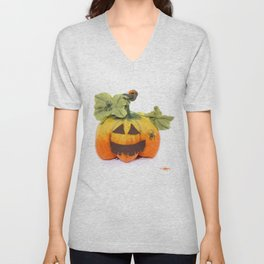 Pumpkin handmade from felted wool for celebration of Halloween Unisex V-Neck