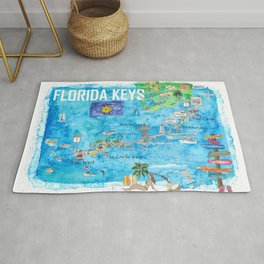Florida Keys Key West Marathon Key Largo Illustrated Travel Poster Favorite Map 2nd Signpost Edition Rug