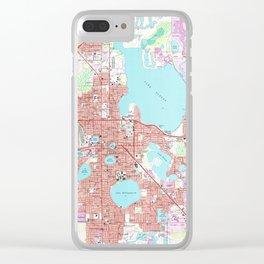 Lakeland Florida Map (1975) Clear iPhone Case