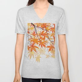 orange maple leaves watercolor Unisex V-Neck