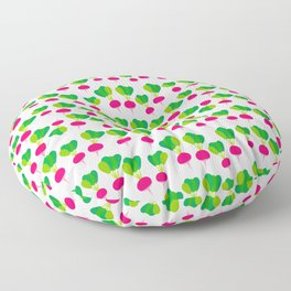 pattern with pink radish with green leaves,  on white background. Vector illustration Floor Pillow