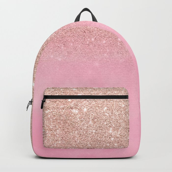 Modern rose gold glitter ombre hand painted pink watercolor Backpack
