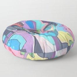 Graffiti Woman Listening to EDM Floor Pillow