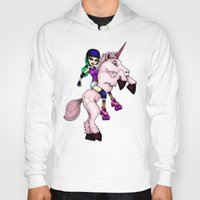 roller derby Hoodies featuring Roller Derby Unicorn by RonkyTonk