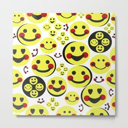 Happy faces, smiley faces emotions repeated pattern Metal Print