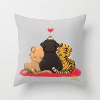 best friends Throw Pillows featuring Best Friends by Patara