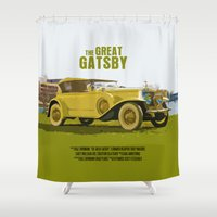 great gatsby Shower Curtains featuring The Great Gatsby Movie Poster  by FunnyFaceArt