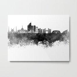 Astana skyline in black watercolor Metal Print
