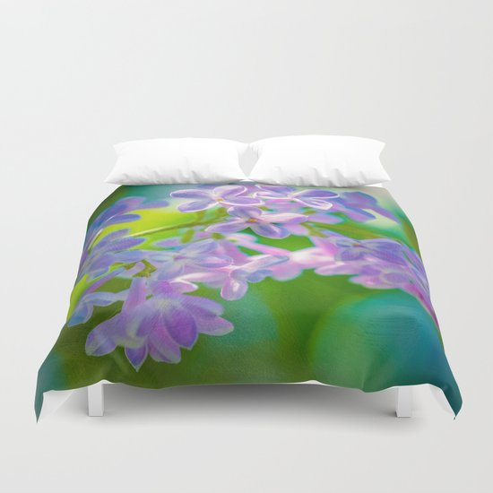 Purple Lilac Flowers Duvet Cover