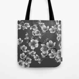 CHARCOAL GREY GARDEN  FRUIT TREES FLOWERS Tote Bag