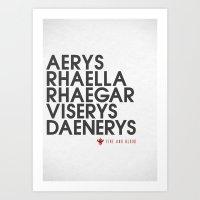 targaryen Art Prints featuring House Targaryen Typography series II  by P3RF3KT