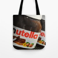 nutella Tote Bags featuring Nutella by Max Jones