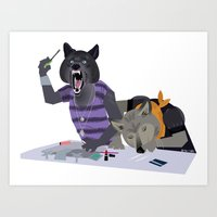 cocaine Art Prints featuring cocaine wolves by Dyna Moe
