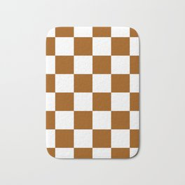 Large Checkered - White and Brown Bath Mat