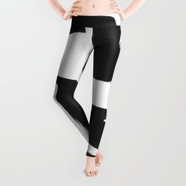 Black And White Minimalist Mid Century Abstract Ink Art Abnormal Organic Shapes Tribal Leggings