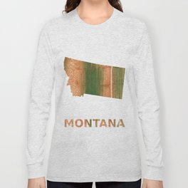 Montana map outline Peru green streaked wash drawing Long Sleeve T-shirt