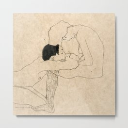 "Egon Schiele ""Lovers"" Metal Print"