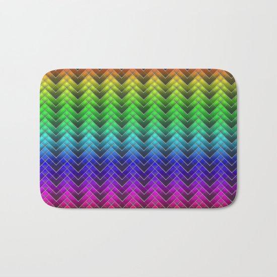 Zigzag pattern rainbow colors Bath Mat
