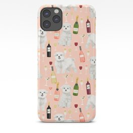 Maltese dog breed wine champagne summer pattern dog gifts pet friendly dogs iPhone Case