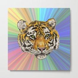 Rainbow Space Tiger Metal Print