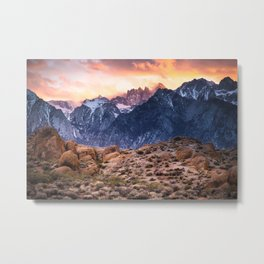 Mount Whitney and Alabama Hills Sunset Metal Print