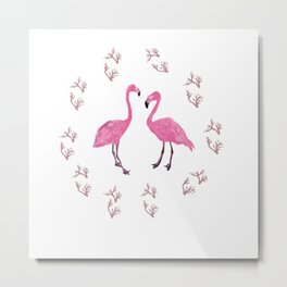 Pink Flamingo Birds  Metal Print
