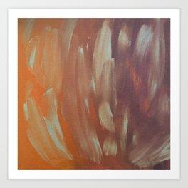 Orange Brush Strokes Art Print