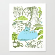 Reading in the Garden Canvas Print