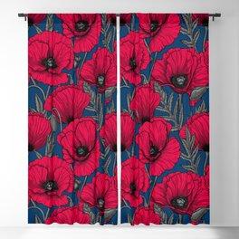Night poppy garden  Blackout Curtain