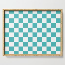 Checkered (Teal & White Pattern) Serving Tray