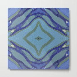 Blue Wave Nautical Medallion Metal Print