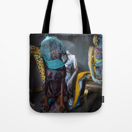 Doberman in Bird Cage Modeling with Nude Painted Mannequins Artistic and Colorful Tote Bag